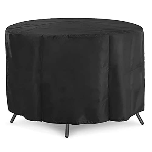 WJY Garden Furniture Covers Waterproof, Round Garden Table Cover, 420D Oxford Fabric, Waterproof, Windproof, Cold Protection and Anti-UV Circular Patio Furniture Cover (Size : 227 * 100cm)