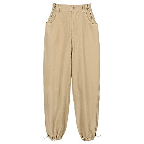N\P Calle cintura ajustable suelta Hip hop pantalones racimo mujeres, caqui, S