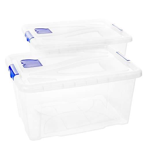 Aufbewahrungsbox mit Deckel, 2 Stück, je 55 Liter, 30 x 61 x 45 cm, aus Kunststoff, Made in EU, transparent mit blauen Griffen und Lüftungsklappe