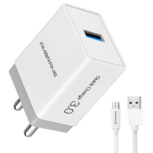Ambrane AQC-56 Quick Charge 3.0A Fast Wall Charger + Free Micro USB Cable - (White & Grey)