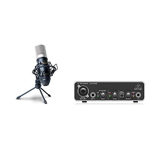 Marantz Professional MPM-1000Мicrófono de Condensador para grabaciones de Estudio con Soporte de Escritorio y Cable + Behringer U-PHORIA UMC22 Equipos de música adicionales
