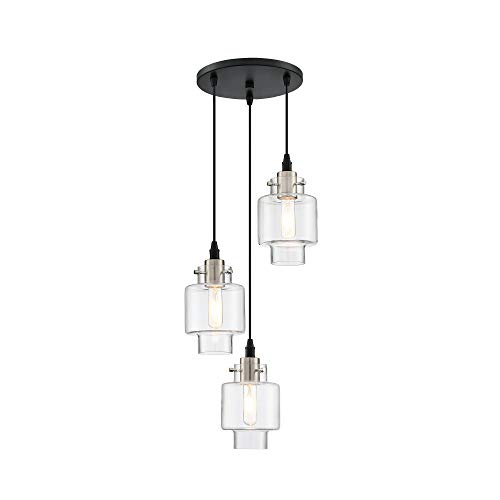 MOTINI 3-Light Cluster Pendant Lighting Black and Brushed Nickel Chandelier with Glass Shade Ceiling...