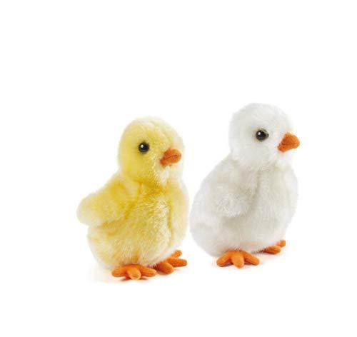 Nature-AN364 Living Nature - Juguetes de peluche de aves de corral, con diseño de gallinas y patos, Color white and yellow (Keycraft AN364 , color/modelo surtido