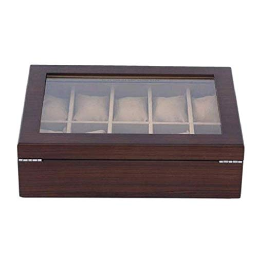 ADSE Joyero - Vitrina de Reloj Caja de Reloj de Lujo de Madera con Ventana de Vidrio Grande, Caja organizadora de Reloj con Interior de Cuero PU Liso