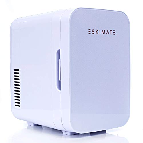 ESKIMATE 6 Liter Compact Portable Mini Fridge for Bedroom, Office, Car, Dorm with Thermoelectric Cooler and Warmer, Small Refrigerator Storage for Skincare, Beauty, Breastmilk, Snacks - Classic White