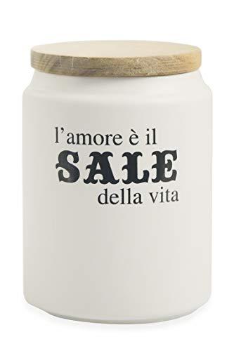 Villa d'Este Home Tivoli Idee Barattolo Sale con Coperchio Bamboo, Bianco