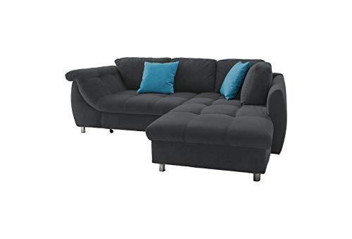 lifestyle4living Ecksofa mit Schlaffunktion in Schwarz mit großen Rücken-Kissen und Zierkissen, Microfaser-Stoff | Gemütliches L-Sofa mit Longchair im modernen Look