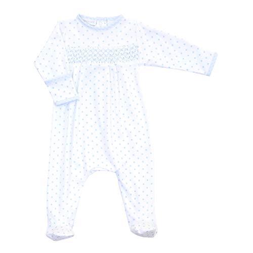 Magnolia Baby Baby Boy Gingham Dots Essentials Smocked Footie Blue Newborn (Smocked Whale)
