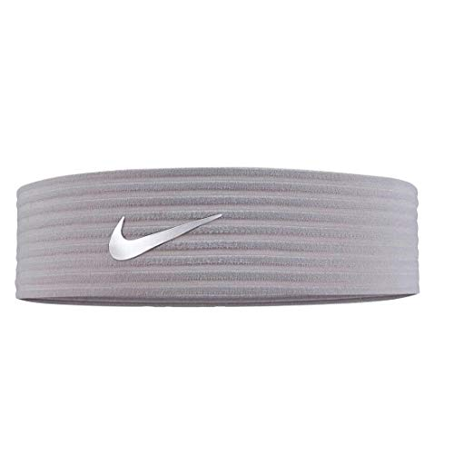 NIKE Unisex - Adulto Novelty Ribbed Cinta para la Frente, N.000.3526.062.OS, Atmosphere Grey/Metallic Summit White, Talla única