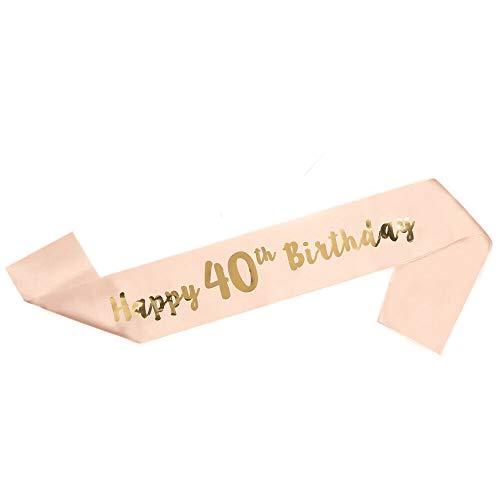 """LINVINC Oro Rosa Banda de Satén para Cumpleaños - """"Happy Birthday"""" (Feliz Cumpleaños) 16/18/21/30/40/50/60 Años Decoración y Regalo para Fiesta de Cumpleaños, 40 Años"""
