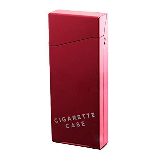 Yuan Ou Pitillera 1pc Black Lady Aleación de Aluminio Slim Estuche de Cigarrillos Alargado Anti-humidificación Diseñado en Rojo