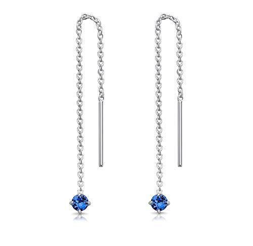 DTPsilver® Pendientes Pequeños con Cadena y colgante con 3 mm Cristal Swarovski® Elements - Plata de Ley 925 - Longitud 57 mm - Color: Zafiro Azul