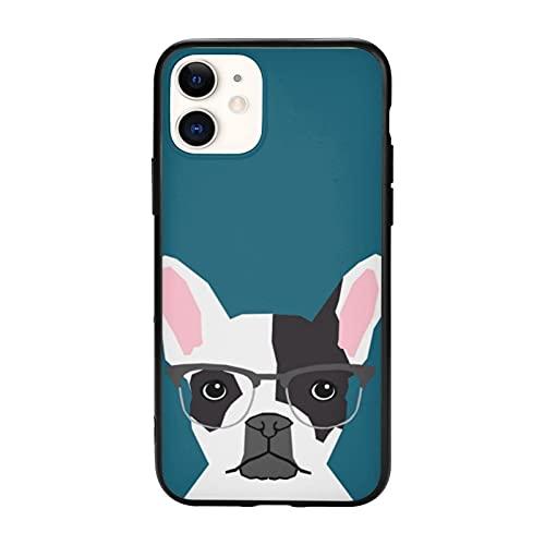 Hipster Frenchie con gafas, Bulldog francés compatible con iPhone 11 Pro Max-6.5, funda protectora de TPU antideslizante para teléfono celular para mujeres, hombres y niñas regalo