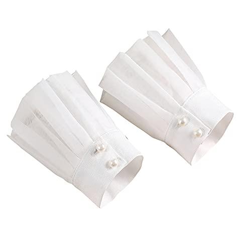 YAKEFJ Lolita - Muñequeras con diseño floral en capas con mangas postizas desmontables para mujeres y niñas, Blanco-a, Talla única