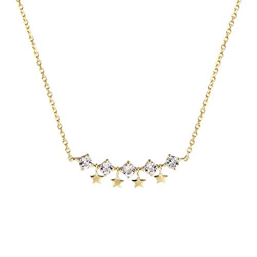 DTKJ Oro 9k Collar De Cadena con Collar De Estrellas Gargantilla Estrella Collares Delicados para Mujeres
