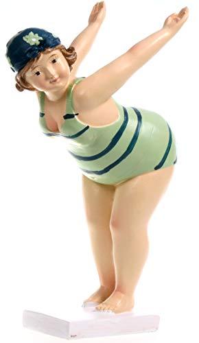 Schwimmerin im türkisenem gestreiften Badeanzug startend 19 cm für Tisch Kommode Schrank Mädchen Rubensfrau mollige Dame Dicke Frau Figur Badezimmer