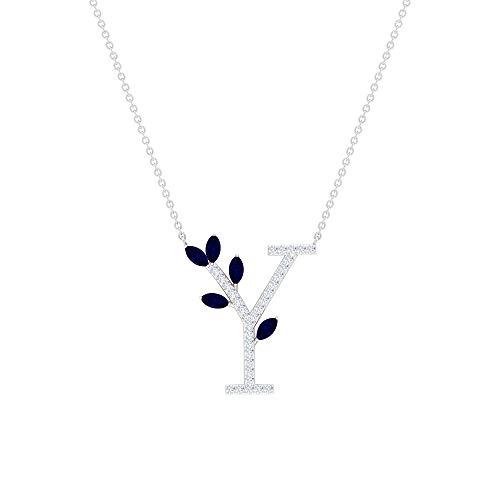 Colgante de letra Y, colgante de zafiro azul de 1 quilate y diamante, colgante de letra inicial de diamante HI-SI, collar de corte marquesa de 4 x 2 mm azul