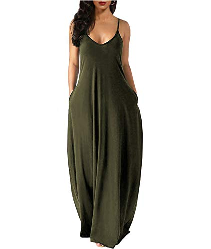 Wolddress Womens Casual Sleeveless Plus Size Loose Plain Long Maxi Dress with Pocket Thin Army Green1X