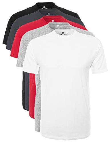 Lower East LE105 T Shirt, WeißGrau MelangeRotForged IronSchwarz, 2XL, 5er Pack