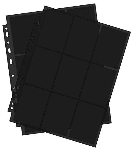 Arkero-G® 10 Seiten Premium Pro 18-Pocket Pages Black / Schwarz Standard Ordnerseiten für Sammelalbum z.B MTG Magic, Pokemon, Topps Match Attax Karten