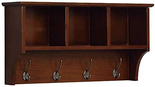 DIKA UK Wandkleerhangers Hangende entree plank Wandgemonteerde kapstok Opbergkasten met haken Moderne houten display Home decor meubels Er zijn 65cm 85cm om uit te kiezen (Bruin) (Maat: 65CM)