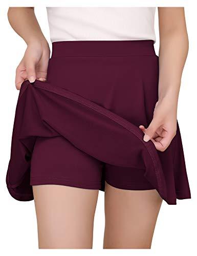 YOYAKER Falda Mujer Short Cortos Elástica Básica Patinador Multifuncional con Pantalones Cortos Burgundy L