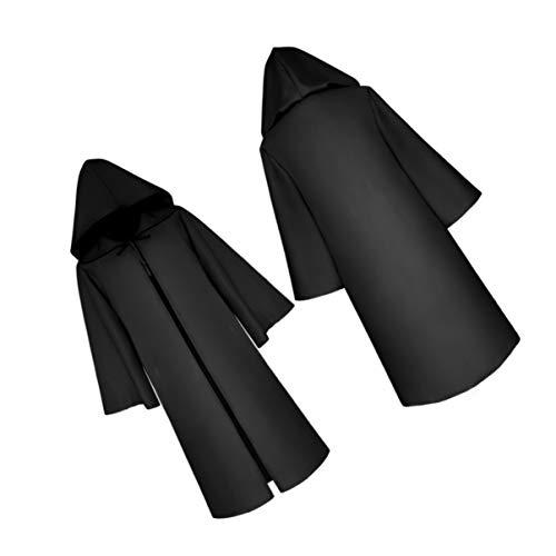 BESPORTBLE Capa Negra de Halloween con Capucha Capa Larga Disfraz de Cosplay Mago Accesorios de Cosplay Disfraz de Fiesta de Halloween para Niños Y Adultos