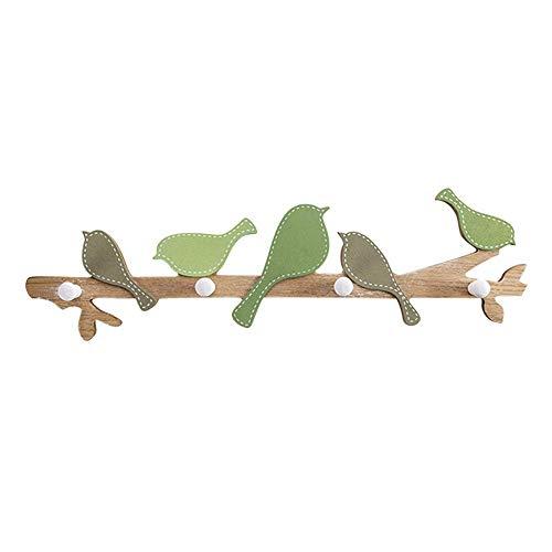 Cmxdz Petit oiseau crochet solide manteau en bois crochet mur de porche créatif Tenture murale décoratif manteau Rack48 * 13 cm (Color : Green)