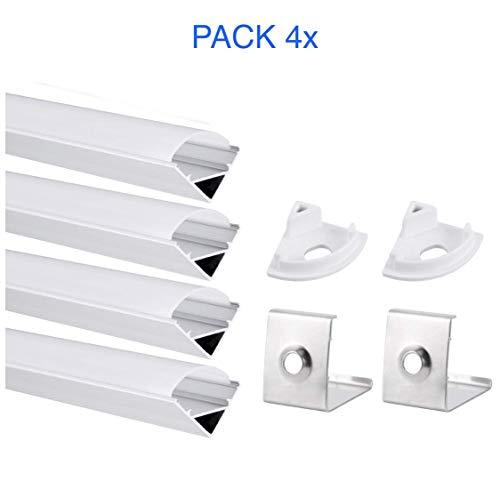 Pack 4x Perfil Aluminio para Tira LED Aluminio 45° (Forma de