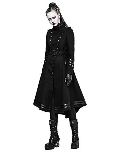 Punk Rave Damen Gothic Militär Uniform doppelseitig gekrümmt Langer Mantel Jacke Wollmischung Winter Mantel L