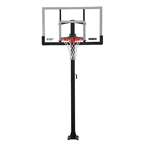 Lifetime Crank Adjust In Ground Basketball Tempered Glass Backboard, 54'