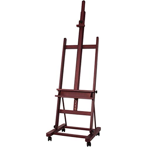 MEEDEN Extra Large Studio H-Frame Easel, Adjustable Tilting Solid Beech Wood Artist Easel, Mahogany Stain Finish Floor Painting Easel Stand, Accommodates Canvas Art up to 92 inch high
