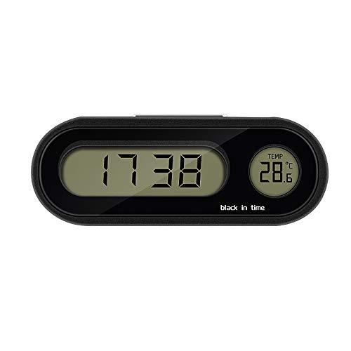 Tendlife Termómetro para Reloj de Coche, Reloj Termómetro para Decoración Interior de Coche con Pantalla LED, Salpicadero de 2 en 1 Reloj Digital para Coche con Retroiluminación de Moda Ajustable