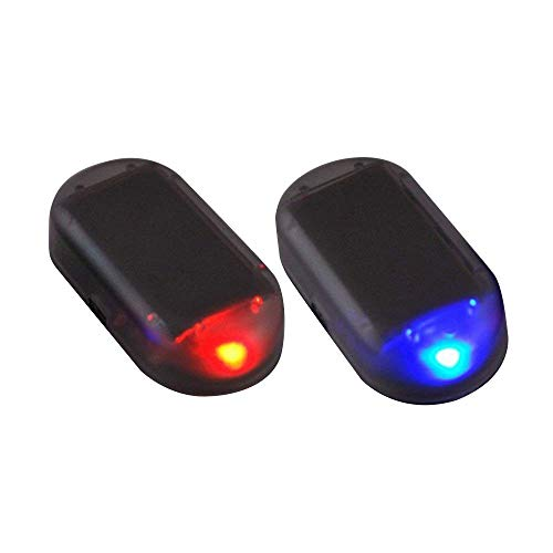 Paddsun 2pcs Solar Powered Car Alarm System,Vehicle LED Light Anti-Theft Flash Blinking Lamp,LED Flashing Security Light, Blue+Red