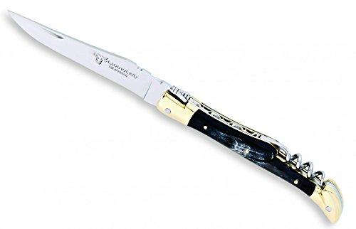 Laguiole en Aubrac Taschenmesser, Horngriff, Messing, Korkenzieher L0312CPL
