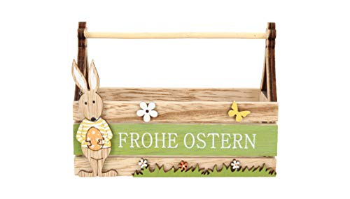AmaCasa - Cesta de Madera con diseño de Conejo de Pascua (12 x 9 x 6 cm)