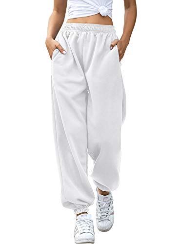 Yidarton Women's High Waisted Sweatpants Joggers Pants Drawstring Yoga Workout Lounge Pants with Pockets (Small, Z-Thick White)