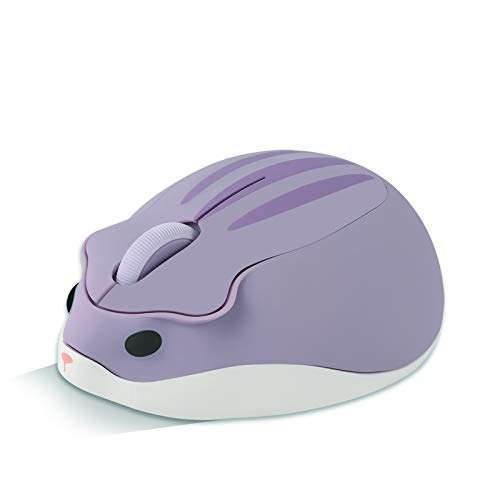 2.4GHz Wireless Mouse,Cute Animal Hamster Shape Cartoon Mini Travel Mouse,1200DPI Portable Mobile Optical Mouse USB Computer Mice,Silent Cordless Mouse for PC Laptop Computer Notebook MacBook (Purple)