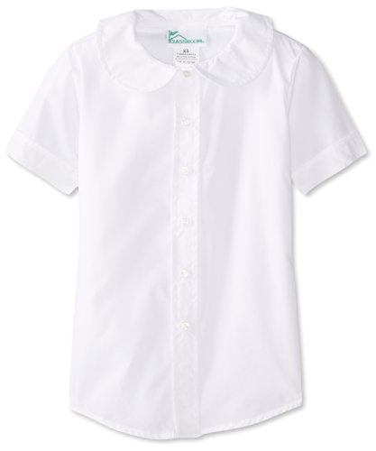 Classroom School Uniforms girls Short Sleeve Peter Pan Blouse,White,X-Large