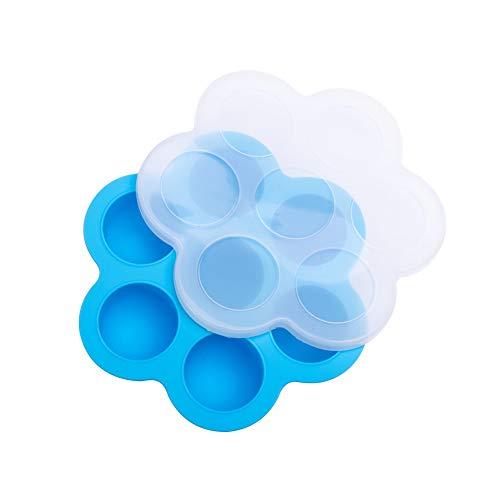 nuiOOui131 - Molde de silicona con 7 rejillas, diseño de bola de hielo, ideal para el verano, para alimentos y bebés, con tapa, fácil de limpiar y duradero Azul