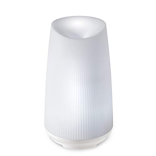 Ellia, Flourish Ultrasonic Essential Oil Diffuser (White), 7.5hrs Continuous 15hrs Intermittent Runtime, Color-Changing Light & 3 Soothing Relaxation Sounds, 3 Essential Oil Samples