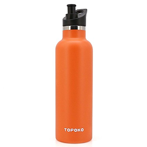 TOPOKO 25 OZ Hydro Double Wall Flask Stainless Steel Water Bottle, Bite Valve Top, Vacuum Insulated, Sweat Proof, Leak Proof Sports Thermos. Standard Mouth 25oz, BPA-Free, Keep Cold 24 Hours (Orange)