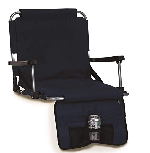 Picnic Plus Stadium Seat with Arms, Straps to Bench & Bleachers Navy
