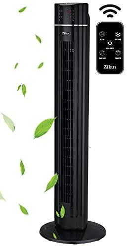 Turmventilator | 3 Stufen | 3 Modi | 60 Watt | 7,5 Timer | Fernbedienung | LED-Leuchten | Tower-Ventilator | Standventilator | Säulenventilator | Luftkühler | Fan… (Santorino Schwarz/Big Slot Design)