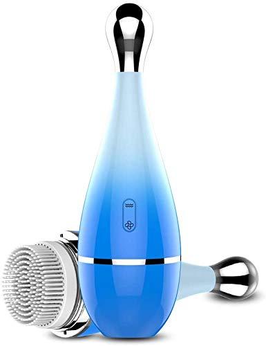 LINANNAN Sonic Nettoyant Visage Brosse, électrique étanche Nettoyant Visage Brosse Thermale pour Exfoliant Douceur de Nettoyage en Profondeur Blackhead Retrait et Masser, Bleu,Bleu
