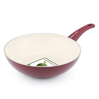 GreenLife Soft Grip 11  Ceramic Non-Stick Open Wok, Burgundy