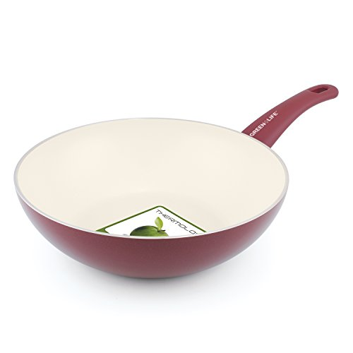 GreenLife Soft Grip 11' Ceramic Non-Stick Open Wok, Burgundy - CW000556-002