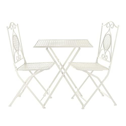 Set da giardino pieghevole tavolino e 2 sedie in ferro bianco Bianco