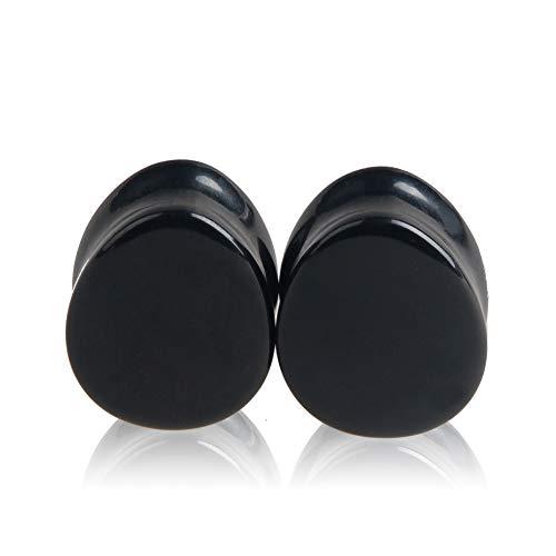 HQLA 1 Pair Teardrop Black Obsidian Natural Stone Plug Tunnels Ear Gauges Expanders Stretcher Body Piercings (00g(10mm))
