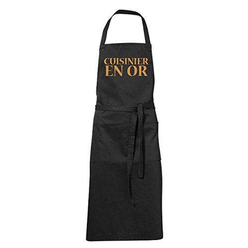 stylx design Tablier humoristique de cuisine noir cuisinier en or